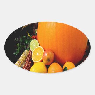 cosecha y éxito de Halloween de la calabaza Pegatina Ovalada