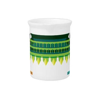Cosechadora con el granjero dentro del ejemplo del jarras de beber