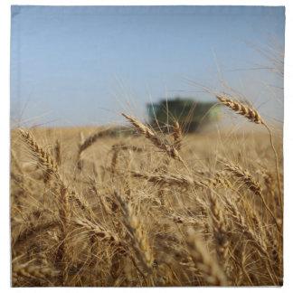 Cosechadora en campo de trigo servilletas de papel