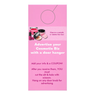 Cosmetic Advertising DOOR HANGER promotion tags Rack Card