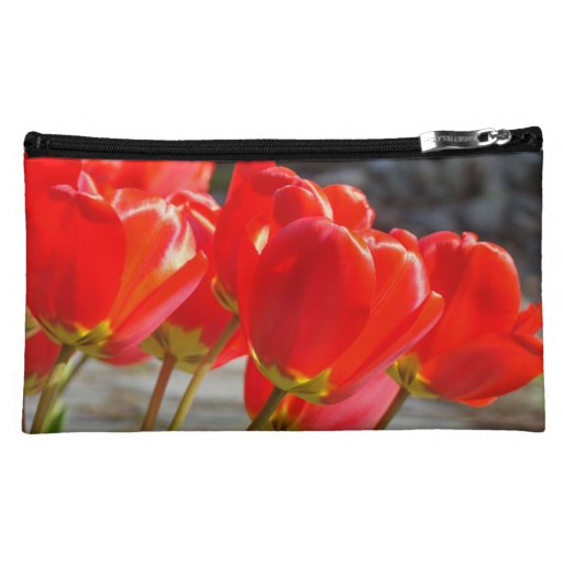 Cosmetic Bag custom Floral Red Tulip Flowers gifts