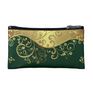 Cosmetic Bag--Dark Green  & Gold Swirls Cosmetic Bag