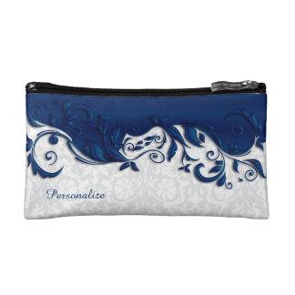 Cosmetic Bag - Elegant Navy Blue and White Damask