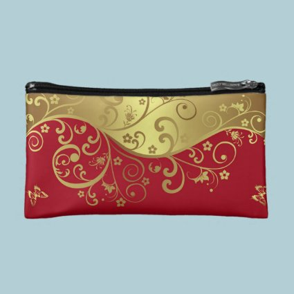 Cosmetic Bag--Red & Gold Swirls Makeup Bag
