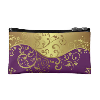 Cosmetic Bag--Red Violet & Gold Swirls Cosmetic Bag