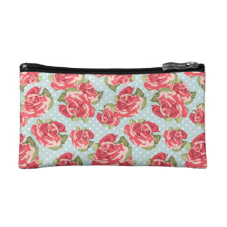 Cosmetic Bag Shabby Chic Roses Floral Vintage