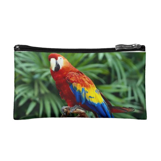 Cosmetic bag with a picture of parrot