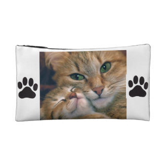Cosmetic bag with cats and paw prints