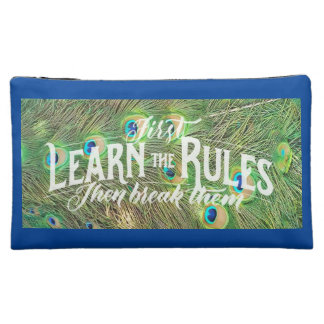 cosmetic bag with pic of peacock feathers & saying