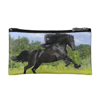 Cosmetic bag with picture of black horse