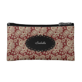 Cosmetic Dark Red Paisley Floral make-up lipstick Cosmetic Bag