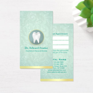Cosmetic & General Dentist Appointment Gold Teal Business Card
