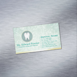 Cosmetic & General Dentist Appointment Gold & Teal Magnetic Business Card