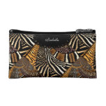 Cosmetic Mixed Animal Zebra Leopard Tiger Print Cosmetic Bags