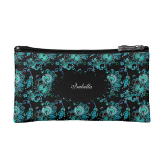 Cosmetic Teal Blue Paisley Floral make-up lipstick Cosmetic Bag