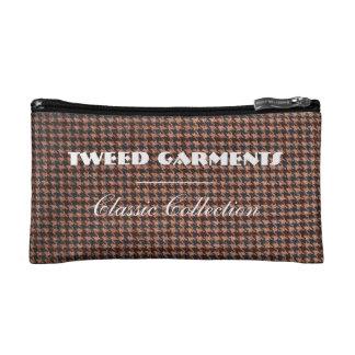 CosmeticBag: Brown Tweed Fabric Makeup Bag