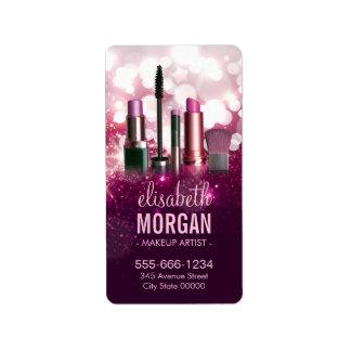 Cosmetician del artista de maquillaje - brillo etiqueta de dirección