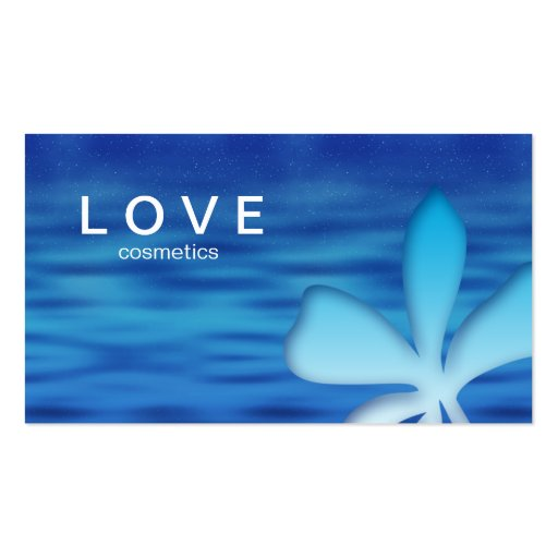 Cosméticos del azul de la flor de la tarjeta de tarjetas de visita