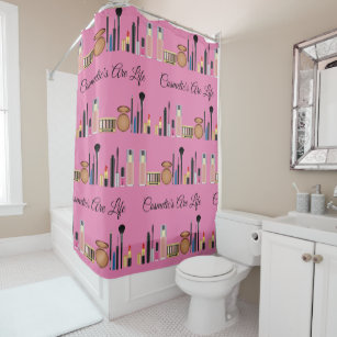 Cosmetics Are Life Pretty Pink Make Up Shower Curtain