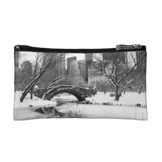 Cosmetics Bag - Central Park in Winter, New York Makeup Bags