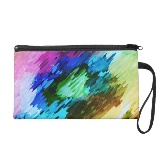 Cosmetics bag formation abstractly multicolored wristlet clutches