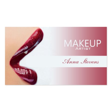Sexy Dark Red Lips with Lip Gloss Makeup Artist Business Cards