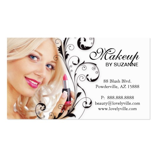 Cosmetologist business card lipstick woman black zazzle for Business cards for women