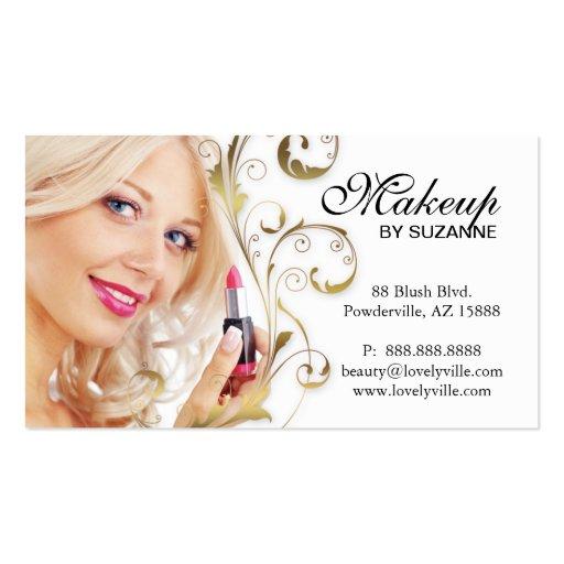 Cosmetologist Business Card Lipstick Woman Gold