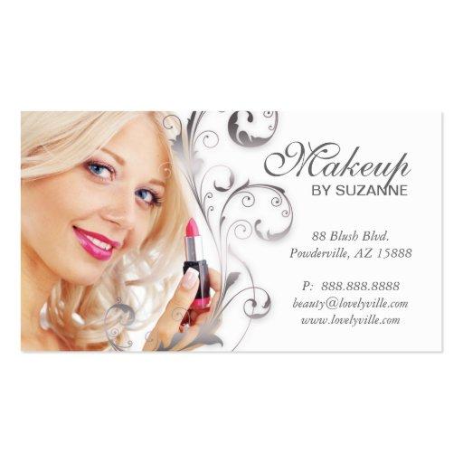 Cosmetologist business card lipstick woman silver zazzle for Business cards for cosmetologist