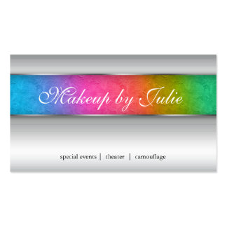 Cosmetologist Business Card Modern Rainbow Silver