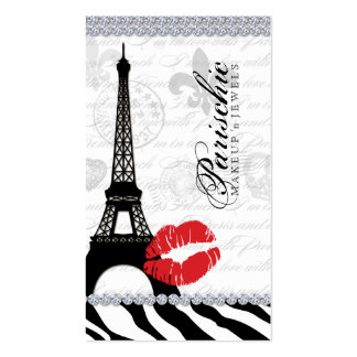 Cosmetologist Business Card Paris Eiffel Tower Red