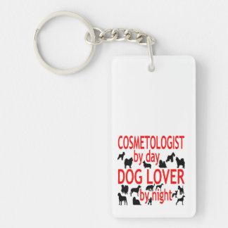 Cosmetologist del amante del perro en rojo llavero rectangular acrílico a doble cara