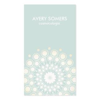 Cosmetologist Ornate Flower Motif Light Aqua Blue Business Card