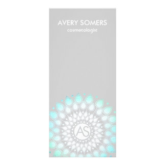 Cosmetologist Ornate Leaf Motif Grey Modern Rack Card Design
