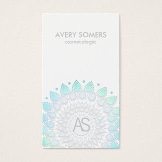 Cosmetologist Ornate Leaf Motif White Modern Business Card