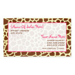 Cosmetologist Salon Appointment Giraffe Print Business Card Template