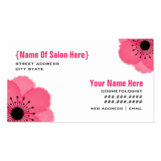 Cosmetologist Salon Appointment - Hot Pink Anemone Business Card Templates