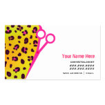 Cosmetologist Salon Appointment Orange Leopard Business Card Template