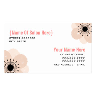 Cosmetologist Salon Appointment - Pink Anemone Business Card Template