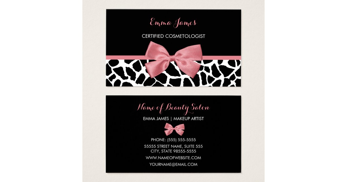 Cosmetologist Trendy Giraffe Print Rosy Pink Bow Business Card ...