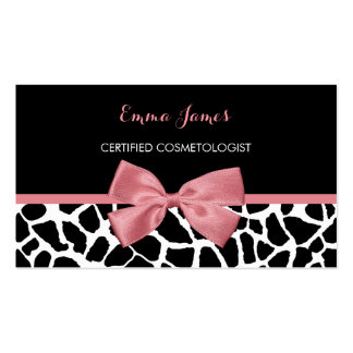 Cosmetologist Trendy Giraffe Print Rosy Pink Bow Double-Sided Standard Business Cards (Pack Of 100)