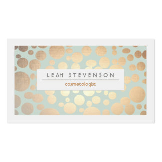 Cosmetology Beauty Turquoise Gold Leaf Look Business Card Templates