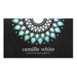 Cosmetology Elegant Circle Light Blue Black Linen Business Cards