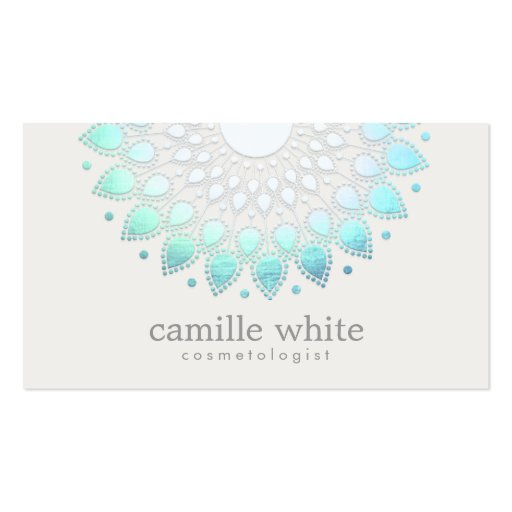 Cosmetology Elegant Circle Light Blue White Spa Business Card