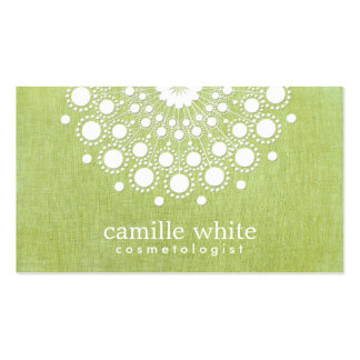 Cosmetology Elegant Circle Motif Green Linen Look Business Card