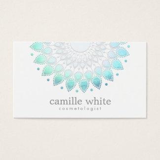 Cosmetology Elegant Circle Motif Light Blue White Business Card