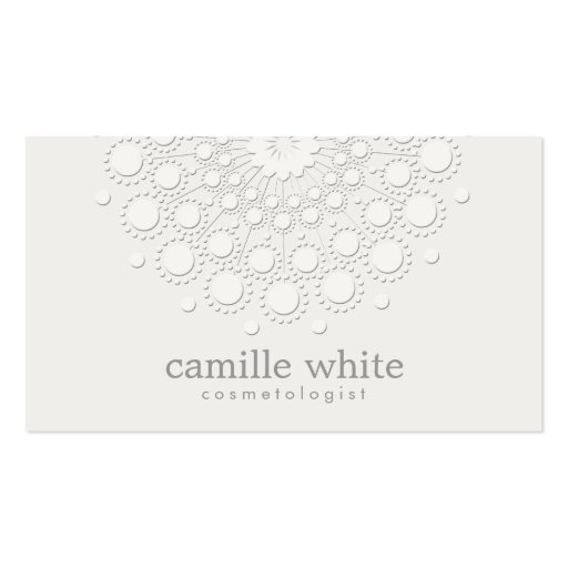 Cosmetology Elegant Circle White and Light Gray Business Card