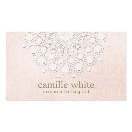 Cosmetology Elegant Gold Circle Motif Light Pink Business Card