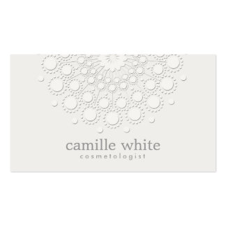Cosmetology Elegant Rosette Monochromatic White Double-Sided Standard Business Cards (Pack Of 100)