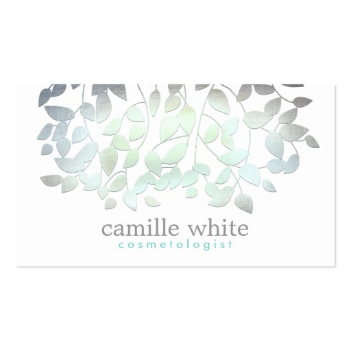 Cosmetology Faux Blue Green Foil Leaves White Double-sided Standard Business Cards (pack Of 100)